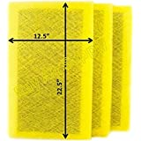StratosAire Air Cleaner Replacement Filter Pads 14x25 Refills (3 Pack) YELLOW