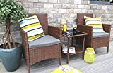 Cheap Baner Garden Q16-BR 3 Pieces Outdoor Furniture Complete Patio Cushion PE Wicker Rattan Garden Dining Set with Coffee Table, Brown