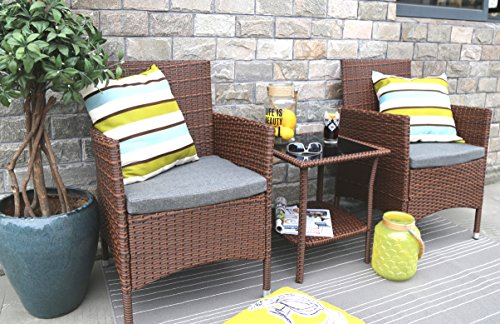Baner Garden Q16-BR 3 Pieces Outdoor Furniture Complete Patio Cushion PE Wicker Rattan Garden Dining Set with Coffee Table, Brown