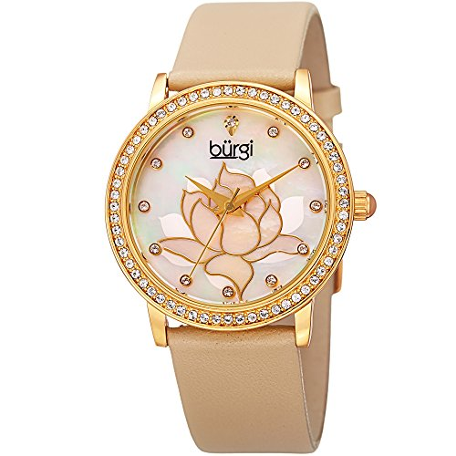 Round Cabochon Cream - Burgi Swarovski Crystal Encrusted Women's Watch with Cream Genuine Leather Strap –Mother of Pearl Dial with Mosaic Lotus Flower Design and Crystal Marker Accents – BUR159CM