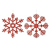 Vickerman 395950 - 32'' Red Glitter Finish Snowflake 2 Assorted Styles Christmas Tree Ornament (set of 2) (M157603)
