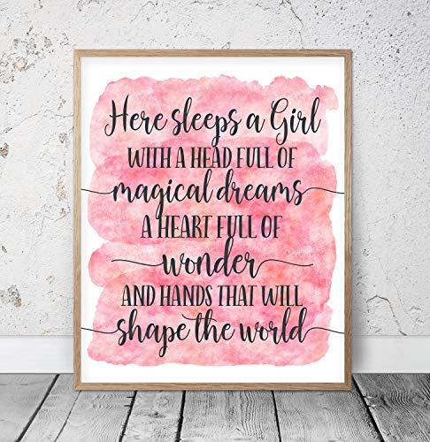 Here Sleeps a Girl With a Head Full of Magical Dreams Pink Nursery Wall Art Girls Room Decor Girls Nursery Decor Baby Girl Shower Gift Wood Pallet Design Wall Art - Plaque Baby Girl