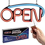 LED Neon Open Sign for Business: Premium Light Up Sign Open with 2 Flashing Modes, Adjustable Speed, and Remote Control/Electronic Lighted Signs for Shops (22.5 x 9.5 inches, Model 6)