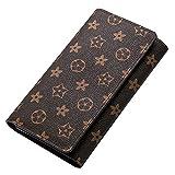 Oldflower Genuine Leather Designer Wallet for Women, Long Tri-fold Clutch Retro Credit Card Holder with Flower (darkbrown)