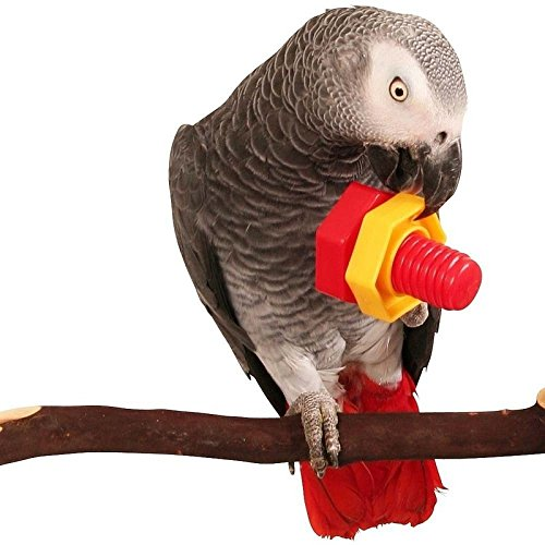 WANGDAFANG Child toy, Huge Big 4 Nuts & 4 Bolts Birds Toys Parrot Chewing Toy, Plastic Screw Parts for Medium Large Parrots Macaws or Cockatoos