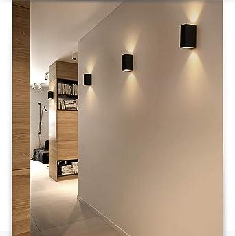Aplique Pared Interior Led Pared Luz En Moda Lectura Aplique Led De Aluminio A Prueba De Agua-Doble Cabeza Luz Blanca Cálida_3W * 2Dormitorio Sala Pasillo Escalera [Clase De Eficiencia Energética A+]: Amazon.es: