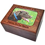 Custom Wooden Personalized Memory Chest Pet Urn, Engraved- Large