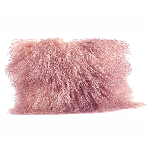 Rose Fur (Rose Pink Color Real Mongolian Lamb Fur Pillow, Filled. 12 Inch X 20 Inch Oblong)