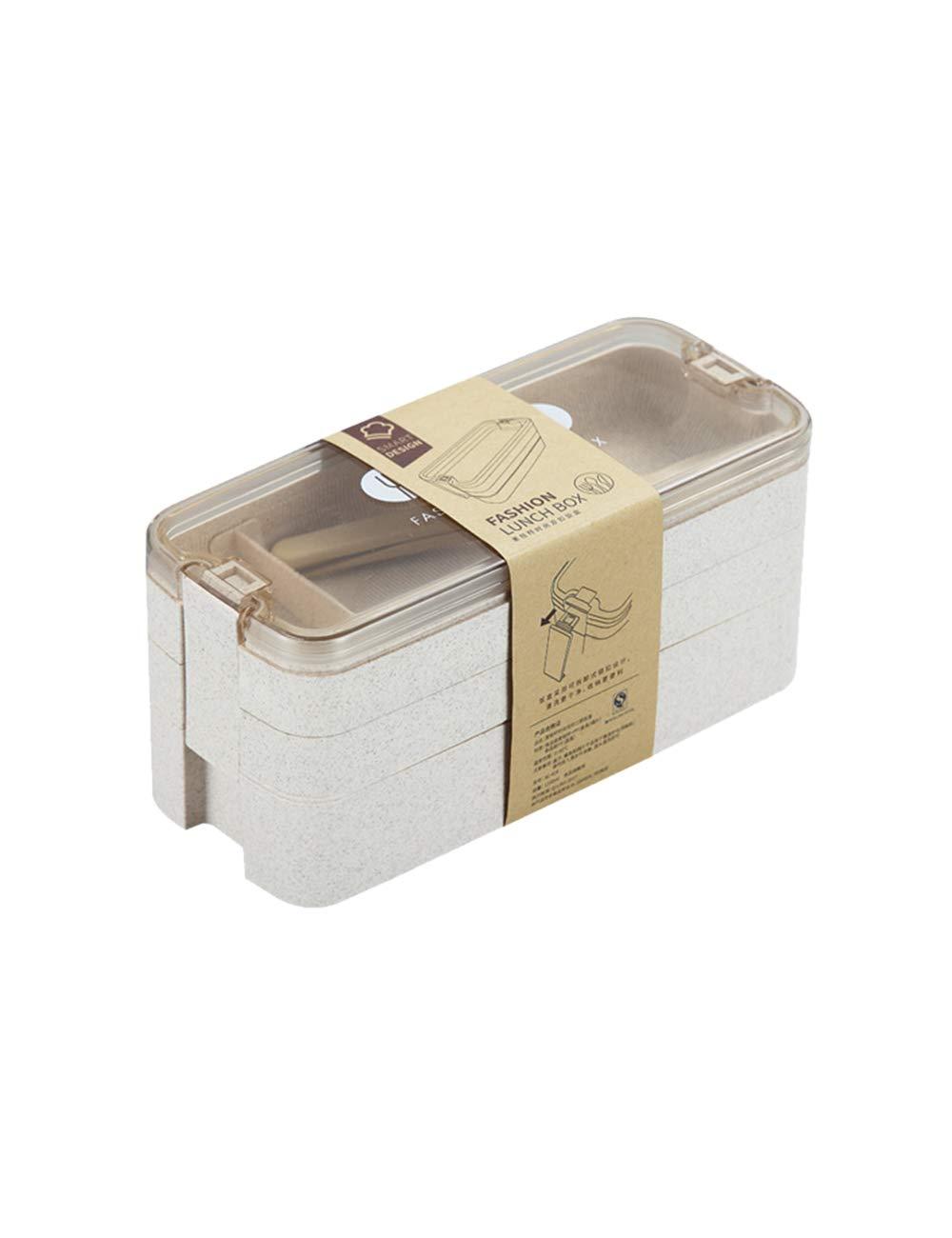 Fiambreras bento Reutilizables Caja de Bento con Cuchara Tenedor SPDYCESS Fiambrera Compartimentos 3 Niveles Lonchera a Prueba de Fugas para Ni/ños y Adultos