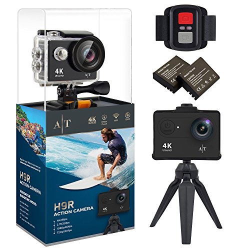 Auto Tech H9R Action Camera 4K Waterproof, Wifi Sports Camera Full HD 4K 25FPS 2.7K 30fps 1080P 60fps 720P 120fps Video Camera 12MP Photo and 170 Wide Angle Lens Includes 11 Mountings Kit 2 Batteries Auto Tech