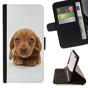 Momo Phone Case / Flip Funda de Cuero Case Cover - Perrito del golden retriever lindo de Brown; - Samsung Galaxy S6 Edge Plus / S6 Edge+ G928
