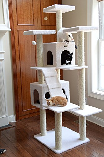 Cheap Multilevel Tall Cat Tree Furniture in Ivory Extra Large Cat Tower with Two Houses & 10 Scratching Posts
