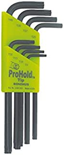 product image for Bondhus 71834 Set of 8 ProHold Star L-wrenches, Long Length, sizes T9-T40