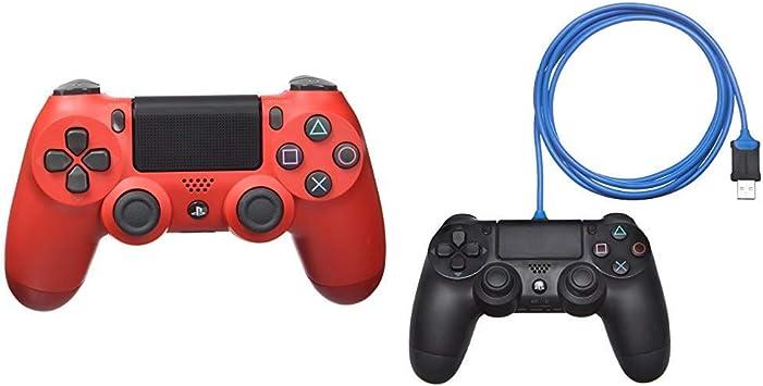 Sony - Dualshock 4 V2 Mando Inalámbrico, Color Rojo (Magma Red) (PS4) & AmazonBasics - Cable de carga para mando de PlayStation 4: Amazon.es: Videojuegos