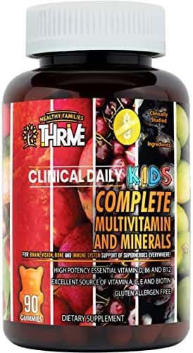 Complete Kids Multivitamin Daily Gummy Supplement for Brain, Vision, Bone and Immune Health. Vitamins A, C, E, D, B6, B12, Folate, Biotin, Essential Minerals. 90 Vegetarian, Gluten Free Yummy Gummies