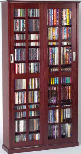 Leslie Dame MS-700DC Mission Multimedia DVD CD Storage Cabinet with Sliding Glass Doors, Cherry