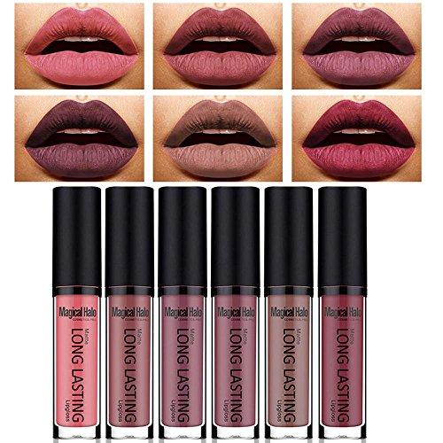 Female Vampire Makeup (Women 6 Shades/Set Matte Lipstick , ONEMORES Women Waterproof Lip Gloss Makeup (A))