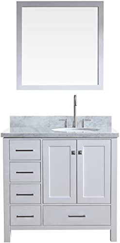 ARIEL Cambridge A037S-R-WHT 37″ Right Offset Single Sink Solid Wood White Bathroom Vanity Set