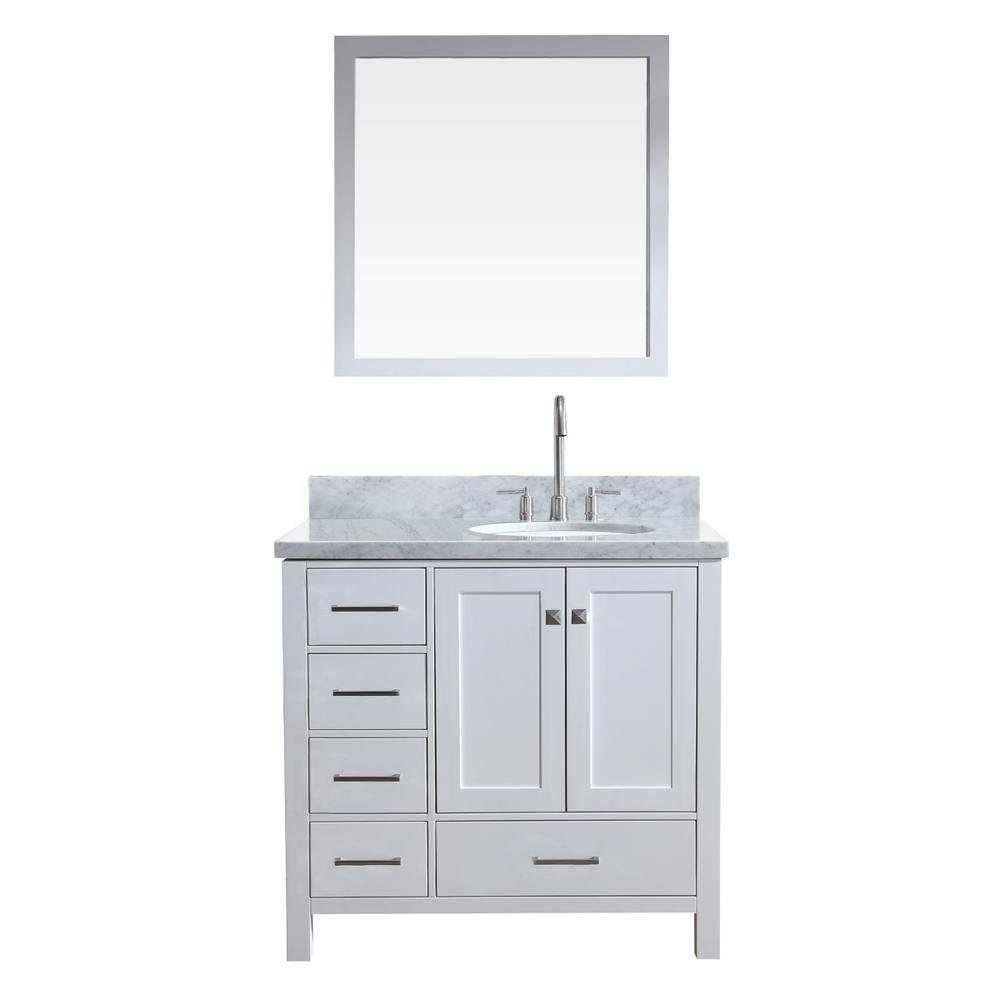 ARIEL 37 inch Right Offset Oval Sink White Bathroom Vanity Set with Carrara White Marble Counter-top 2 Soft Closing Doors and 5 Full Extension Dovetail Drawers 37 x 22 x 35