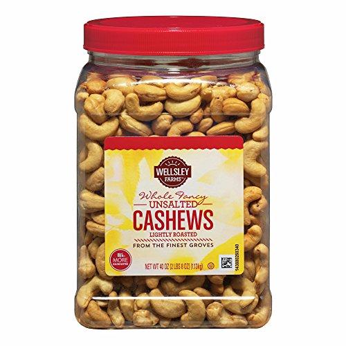 Wellsley Farms Unsalted Roasted Whole Cashews, 2.5 lb.