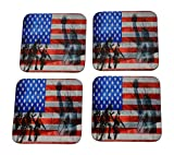 USA Soldiers Statue of Liberty Partiotic Flag Drink Coaster Set Gift United States of America Military Veteran Home Kitchen Bar Barware
