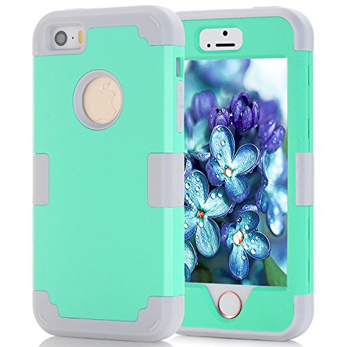Asstar 3 in 1 Hard PC+ Soft TPU Impact Protection Heavy Duty Shockproof Full-Body Protective Case for Apple iPhone SE / iPhone 5 5S - Mint grey