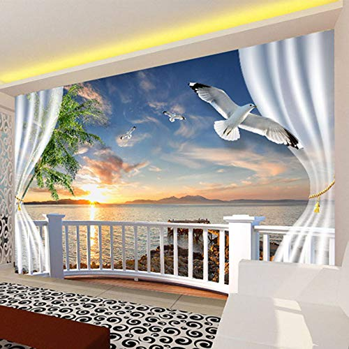 (Mural Wallpaper - Custom Photo Wall Paper 3d Balcony Curtains Sunset Seascape Papers Home Decor Living Room Sofa Tv - Marble Black Mural Bathroom Wall Peel Italy Bamboo Papers Baby York Wallpape)