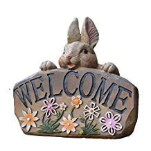 Decoración de Jardines Cute Bunny Garden Welcome Sign Estatuilla En Miniatura Accesorios De Jardín Mini Estatuillas Decorativas Adecuado para jardín de jardín (Color : C1, tamaño : As Shown)