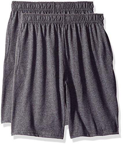 Hanes Big Boys' Jersey Short (Pack of 2), Charcoal Heather, S