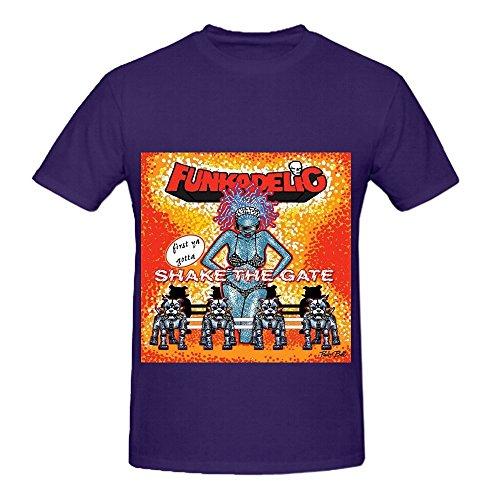 Funkadelic First Ya Gotta Shake The Gate Hits Men Crew Neck Digital Printed Shirts Purple ()