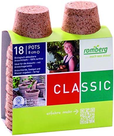 Romberg Anzuchttöpfe Classic rund ø 8 cm (18 Stück, biologisch abbaubar, torffrei, einfache Anwendung) 10091101