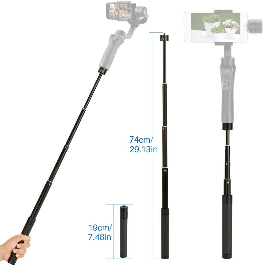 "Extension Rod for Gimbal - YILIWIT 29 inch Adjustable Selfie Stick Compatible with Gimbal Stabilizer DJI Osmo Mobile 3 2/Feiyu/Zhiyun Smooth Q & 4 and All Gimbles with 1/4"" Thread Handheld Pole"