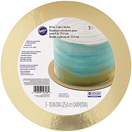 Wilton 2104-4328 10 Inch Gold Cake Board, 3 Count