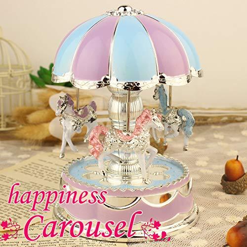 Blueseao Kids Merry-Go-Round Horse Music Box, Carousel Music Box Purple - Girls Christmas Birthday Gift