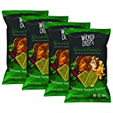 Wicked Crisps, Spinach Parmesan, Deliciously Deceptive Nutrition, Gourmet Spinach Crisps, No Additives or Preservatives, Gluten Free, Non-GMO, 4oz party-size bag (4 pack)