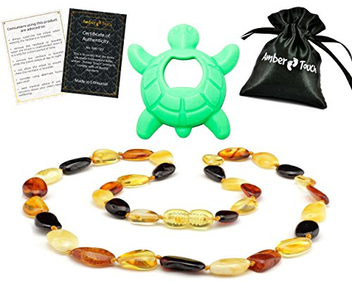 (Baltic Amber Teething Necklace Gift Set + Free Silicone Teething Pendant ($15 Value) Handcrafted, 100% USA Lab-Tested Authentic Amber - Natural Teething Pain Relief)