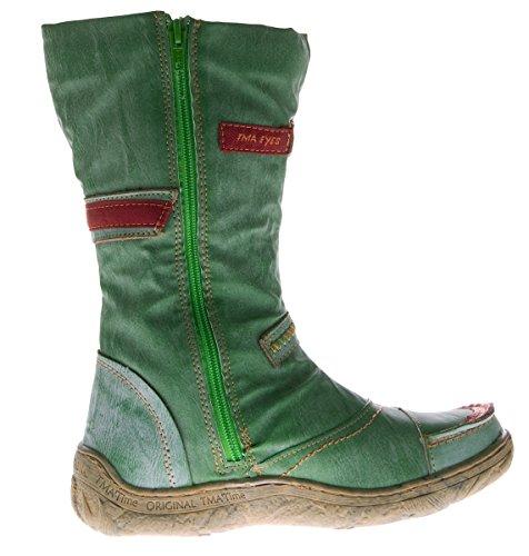 Botas de piel de invierno, para mujer, con zapato forrado Verde - verde
