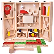 FUN LITTLE TOYS Wooden Kids Tool Set Boy Gift Learning Toy Construction Set Pretend Play Creative DIY With Solid Wood Durable Case, Hammer, Screwdriver, Wrench Role Play Set - 43 PCs