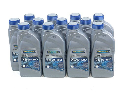 RAVENOL J1C1101-12 SAE 75W-90 Gear Oil - TGO Semi Synthetic API GL-5 Spec (1L, Case of 12) by Ravenol