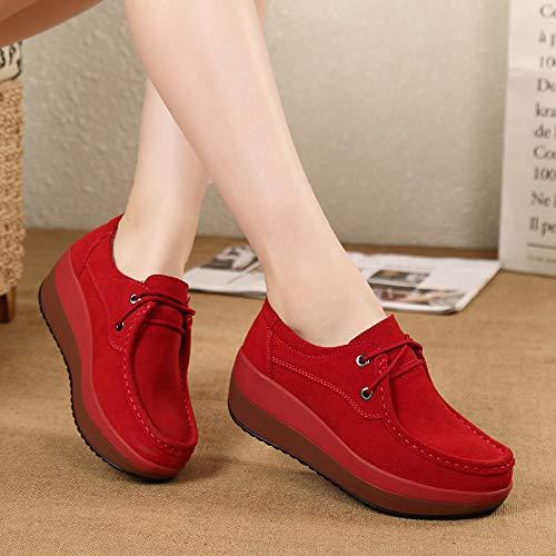 Donna Mocassini Rosso Qiusa Colore EU Leather 36 Shoes up Sole Platform Dimensione Lace Rocker Grigio qq8FwTRng