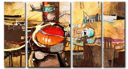 Sangu 100% Hand Painted Wood Framed Weeping Abstract Paintings For Living Room Modern Oil Paintings Gift on Canvas 4-piece Art Wall Decor