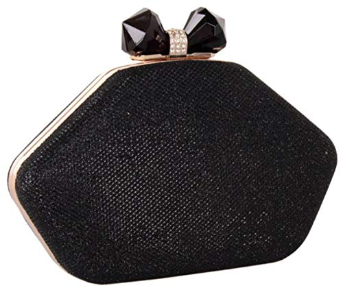 Lips Bag Party Purse Shiny Women Black Evening Rhinestone Bettyhome Clutches Handbags Wedding qptXa