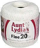 Coats Crochet Aunt Lydia's Crochet, Cotton Fine Size 20, White