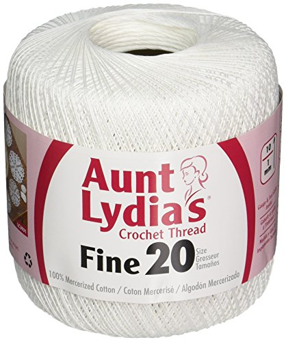 Coats Crochet Aunt Lydia's Crochet, Cotton Fine Size 20, White Fine Crochet Thread