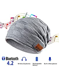 Pococina Bluetooth 4.2 Headphone Beanie Hat Winter Warm Knit Music Hat Cap with Built in Mic and Wireless Headset as Christmas Birthday Gifts for Men Women Teen Girls Boys (Upgraded Version) - 014 Gray