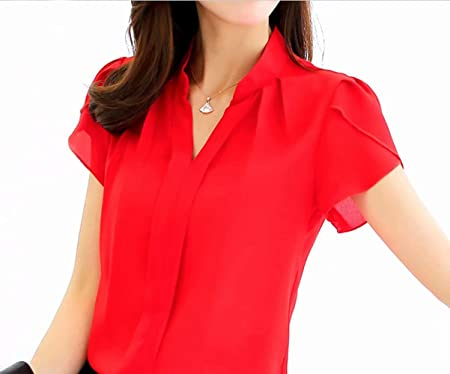 Blouse T-Shirt Top Women Loose Summer Fashion Shirt Short Sleeve Ladies Chiffon