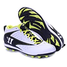 WARRIOR VEX JUNIOR LACROSSE MID HEIGHT MOLDED CLEATS WHITE BLACK YELLOW US JUNIOR 6Y