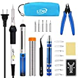 LDK Full Set 60W Soldering Iron Kit, Adjustable Temperature with 5pcs Different Tips