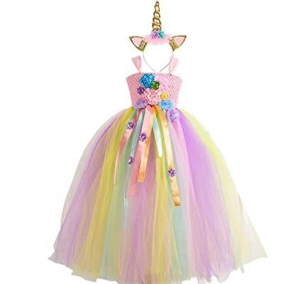 Unicorn/Mermaid Tutu Dress for Girls Unicorn/Mermaid Costume with Headband High Waist Tulle Dress for Party 4T 6T 8T 10T: Clothing