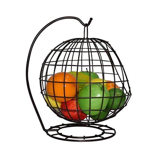 MLMHLMR European Style Living Room Fruit Tray Creative Fashion Wrought Iron Hanging Basket Fruit Basket Fruit Bowl Drain Storage fruit dish (color : Bronze)